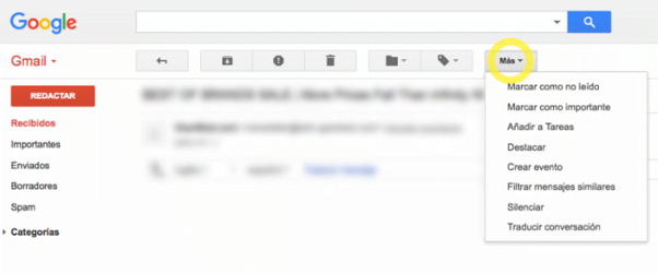 Progressive Disclosure in Gmail de Google