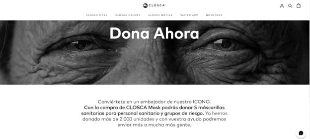 La marca alicantina Closca ha modificado completamente su homepage para alojar la promoción de su nuevo producto y su campaña de donación.