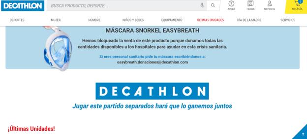 La web de Decathlon da visibilidad a su donación de máscaras e invita al personal sanitario a solicitarlas.