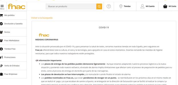 Fnac incluye información sobre cómo afecta la situación a los plazos de envío y devoluciones.