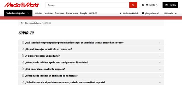 La web de Media Markt cuenta con una página de FAQs sobre el COVID-19, que incluye todo tipo de información sobre pedidos y cambios en la política de devolución, reparaciones, etc.