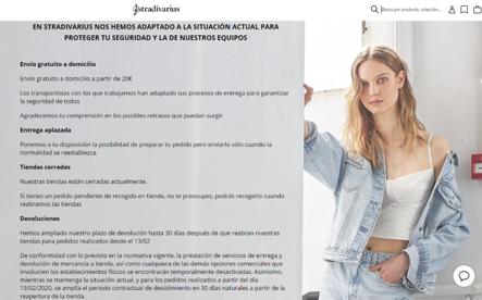Imagen de la web de Stradivarius con mensaje del COVID19